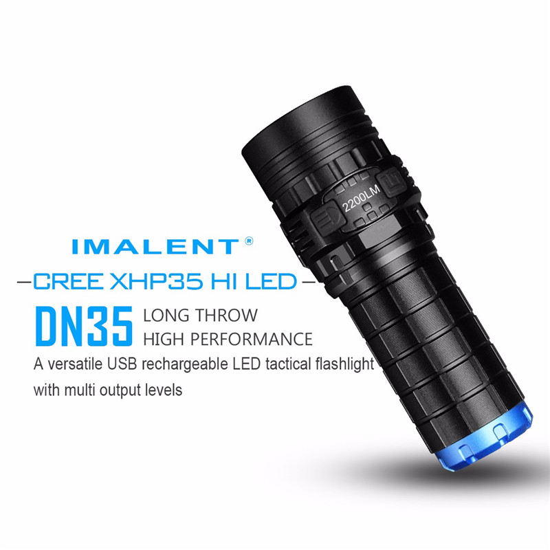 IMALENT DN35 USB Rechargeable CREE XHP35 HI LED LED Tactical Flashlight With Multi level Outputs And An OLED Display Maximum lum - 3