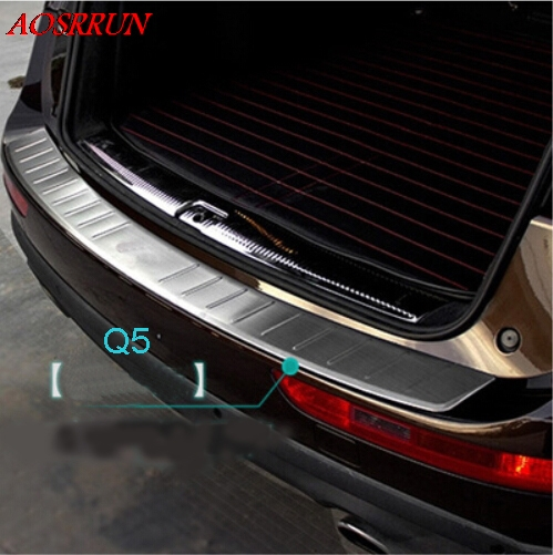 Stainless Steel Outer Rear Bumper Protector Sill Threshold Pad Pedal Tread Plate for Audi Q5 2013-2016 accessories car styling car styling stainless steel inner rear bumper protector sill trunk tread plate trim for hyundai santa fe ix45 2013 2016