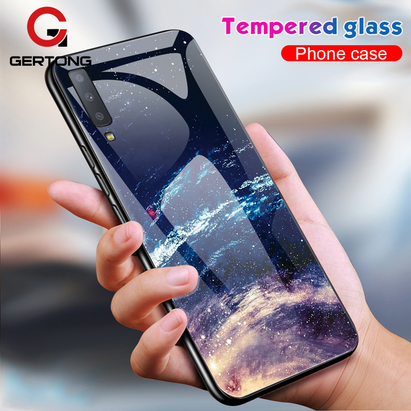 Tempered Glass Phone Case For <font><b>Samsung</b></font> Galaxy <font><b>A7</b></font> <font><b>2018</b></font> A750 S10 Plus S10e Coque Cover Silicone Bumper Protective <font><b>Capa</b></font> image