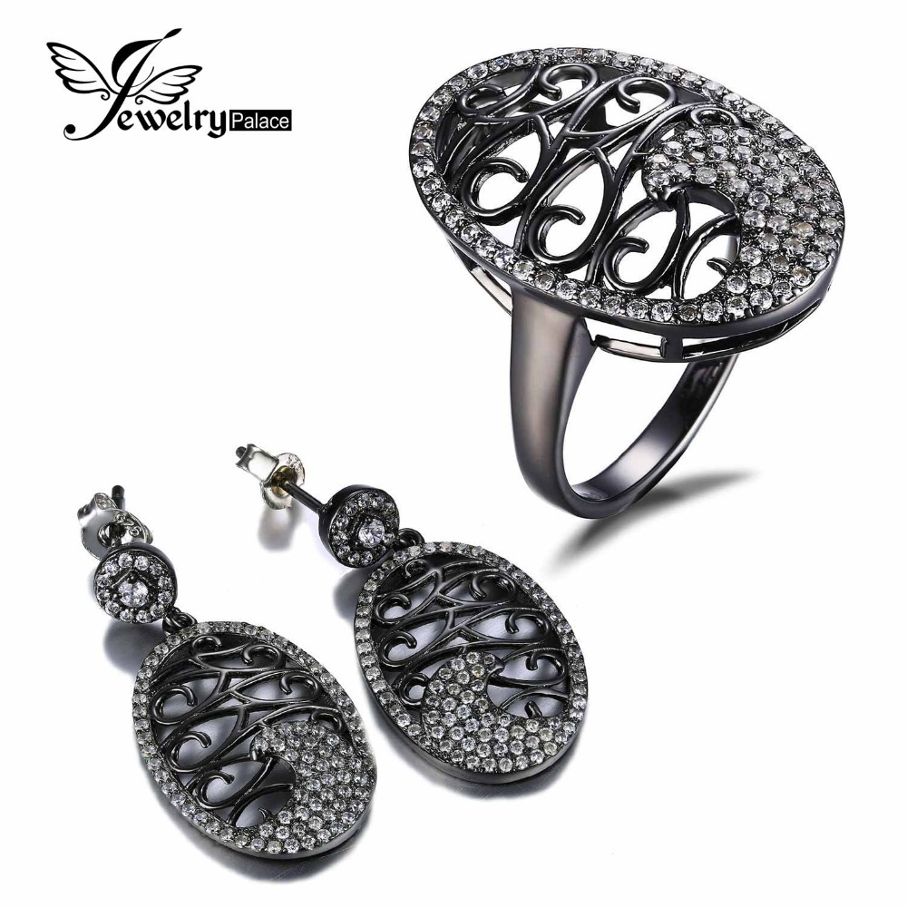 Luxury Black Oval Vine Design 925 Sterling Silver Earring Ring Jewelry Set Vintage Brand Classic Romantic Gift