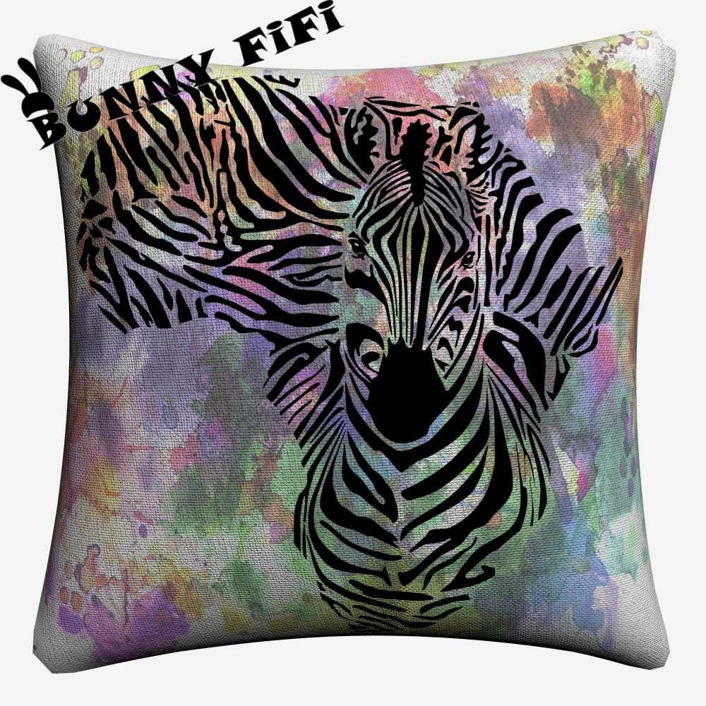 Zebra Sıçrama Suluboya dekoratif yastık kılıfları Kanepe Ev Dekor Için Keten Yastık Kılıfı 45x45 cm Atmak Yastık Kılıfı