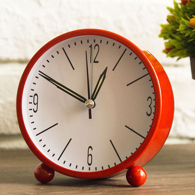 small desk clocks  European metal small desk clock, contracted mute of the head of a ...