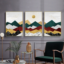 Modern Pictures Art Painting Nordic Abstract Golden Sun Mountains Landscape Canvas wall print poster for Living Room Home Decor
