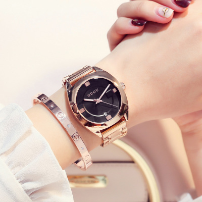 2018 New listing Brand GUOU Women Watches Luxury stainless steel Watch fashion casual ladies quartz watch For Female Clock Gift new arrival 2015 brand quartz men casual watches v6 wristwatch stainless steel clock fashion hours affordable gift