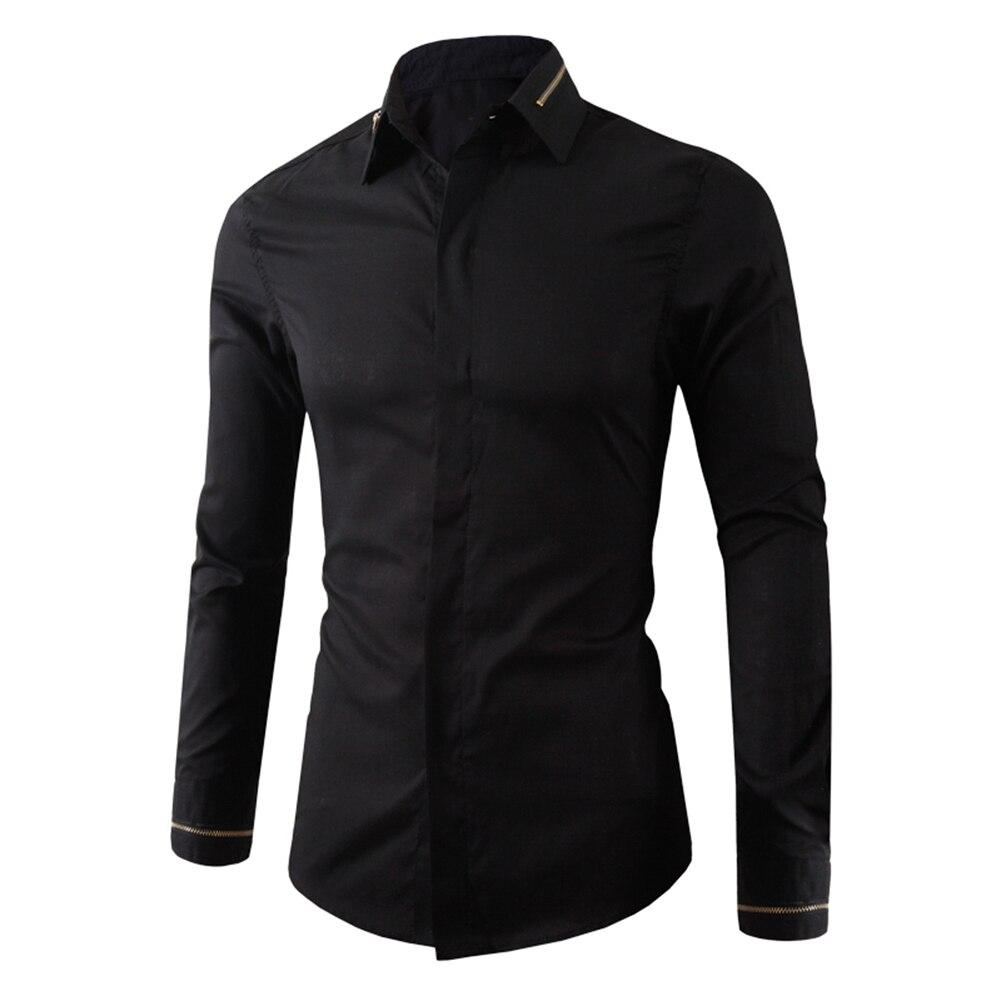 M,L,XL,XXL Size Spring Autumn Turn Down Collar  Men's Business Casual Long Sleeved Shirt White Black Smart  Dress Shirt 2019