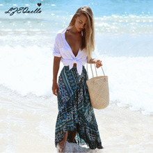 Женская летняя юбка в стиле бохо макси с асимметричной шнуровкой, длинные хиппи рубашки с цветочным принтом и оборками, богемная шикарная пляжная юбка с разрезом