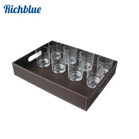 Rectangle Serving Tray Storage Case For Fruits Cups Snacks Breads Dish Table Organizer Wood & Leather A080