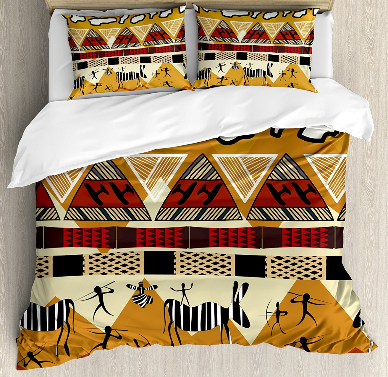 Native American Duvet Cover Set Pattern With Indigenous Cultural Elements Teepees Wolfs And Arrows Tribal 4 Piece Bedding Set Bedding Home Textile