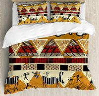 Primitive Duvet Cover Set, Tribal Ethnic African Hunting Zebra Spear and Arrow Prehistoric Tribe Life Theme, 4 Piece Bedding Set