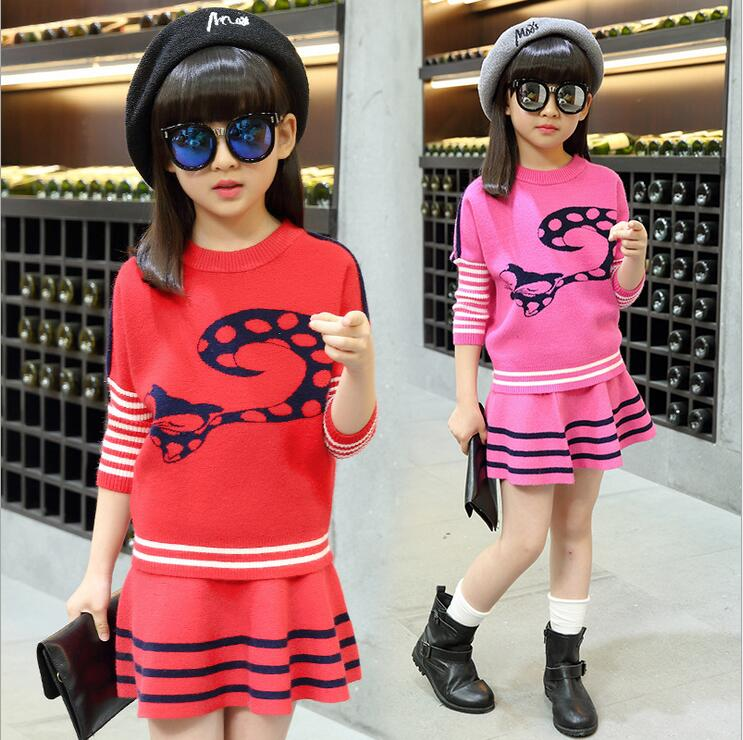 ФОТО Fall Vogue Girls Clothing Sets Sports Wear Long Sleeve Cartoon Printting Knitted Sweater And Skirt Christmas Costumes For Kids