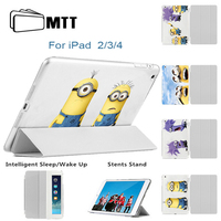 MTT Ultra Thin Magnetic Front PU Leather Slim Smart Cover Skin Printed Fear Minions Hard Back
