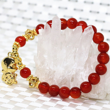 High quality gold-plated monkey natural red agate onyx 8mm stone bracelets for women round beads pendant jewelry 7.5inch B2097