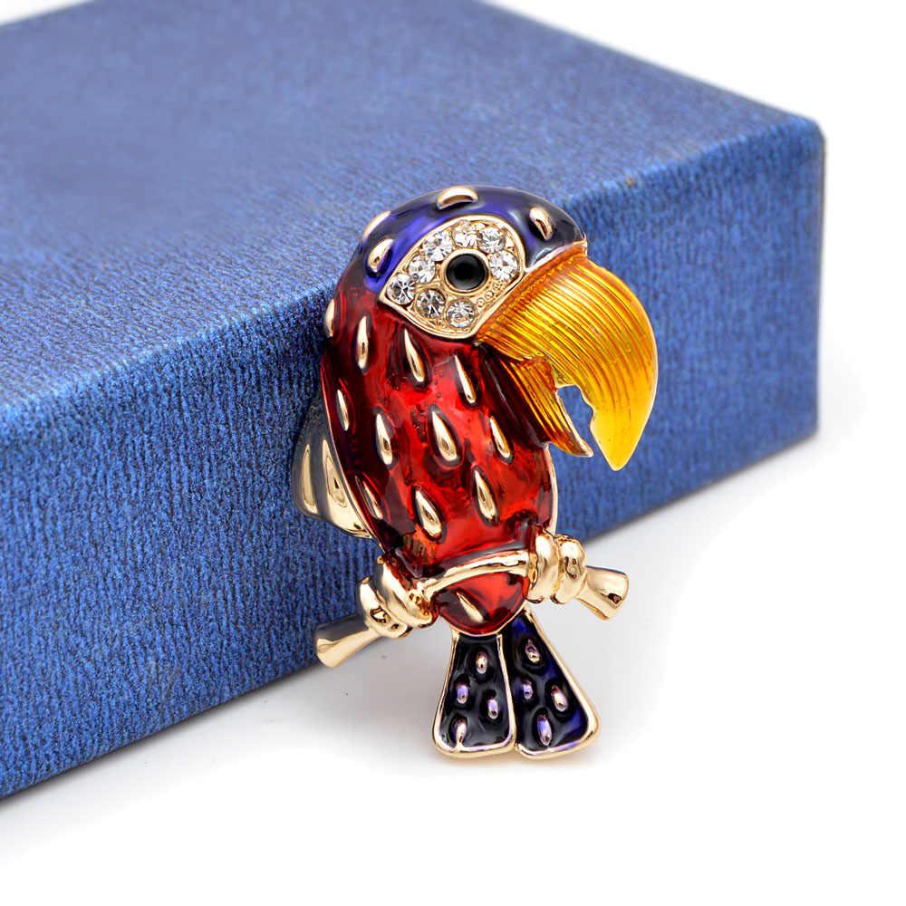 Muda Tulip Lucu Burung Berdiri Di Pohon Bros Elegan Rhinestone Crystal Enamel Perhiasan untuk Wanita Pernikahan Hadiah Anak-anak