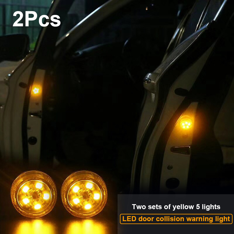 2pcs Yellow Car Door Warning Light Safety Strobe Light Traffic Signal Lamp Anti-collid Police Light Car-styling Stickers on Cars