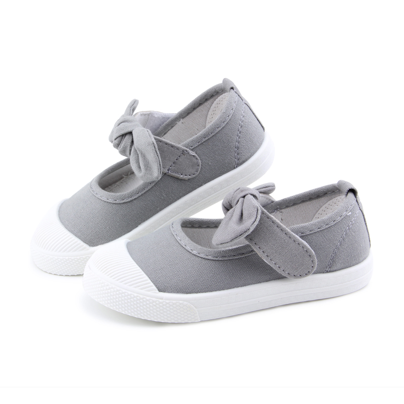 Baby Girl Shoes Canvas Casual Kids Shoes With Bowtie Bow-knot Solid Candy Color Girls Sneakers Children Soft Shoes 21-30 11