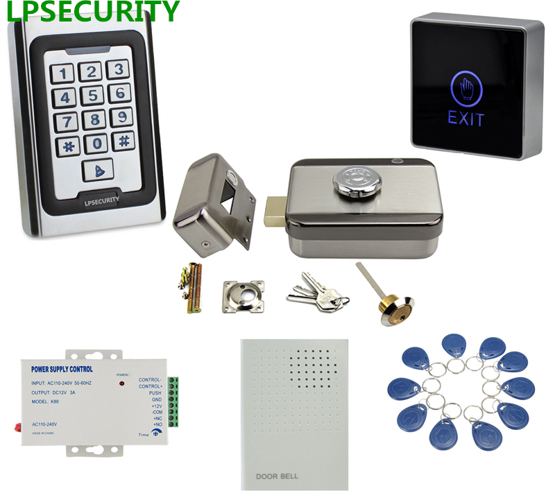 LPSECURITY Metal case keypad RFID access control system kit set electric door lock kit with free pass for exit 10 tags doorbell rfid door access control system kit set with electric lock power supply doorbell door exit button 10 keys id card reader keypad