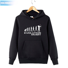 HUMAN EVOLUTION ARCHERY Printed Sweatshirt Tracksuit For Mens Winter Dress 2018 Long Sleeve Hat Hoodies Cotton Funny Pullover