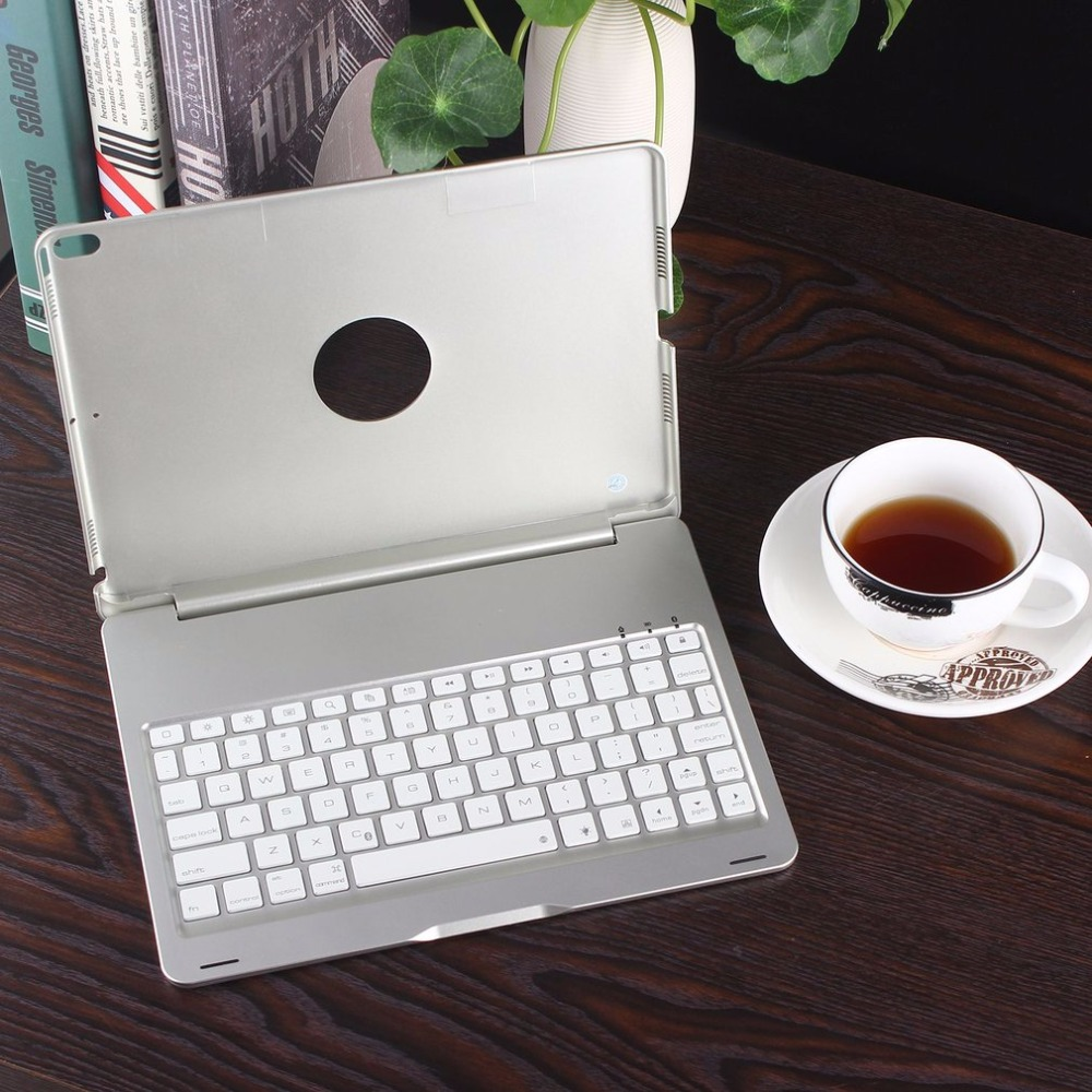 Portable Silver Wireless Bluetooth Keyboard Protective Case Smart Connection Led Backlit Aluminum Alloy For Ipad Pro 10.5 стоимость