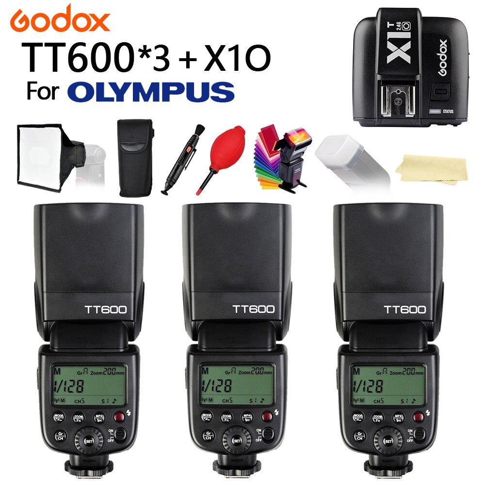 3PCS Godox TT600 2.4G Wireless HSS 1/8000s TTL Camera flash Speedlite + X1T-O Transmitter for Olympus Cameras + free gift kit3PCS Godox TT600 2.4G Wireless HSS 1/8000s TTL Camera flash Speedlite + X1T-O Transmitter for Olympus Cameras + free gift kit