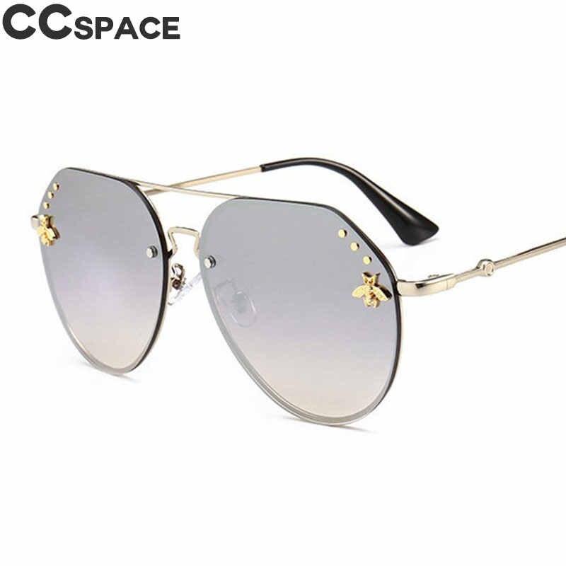 058c116d55 2018 Vintage Pilot Sunglasses Women Luxury Golden Bee Shades UV400 CCSPACE  Brand Glasses Designer Fashion Men