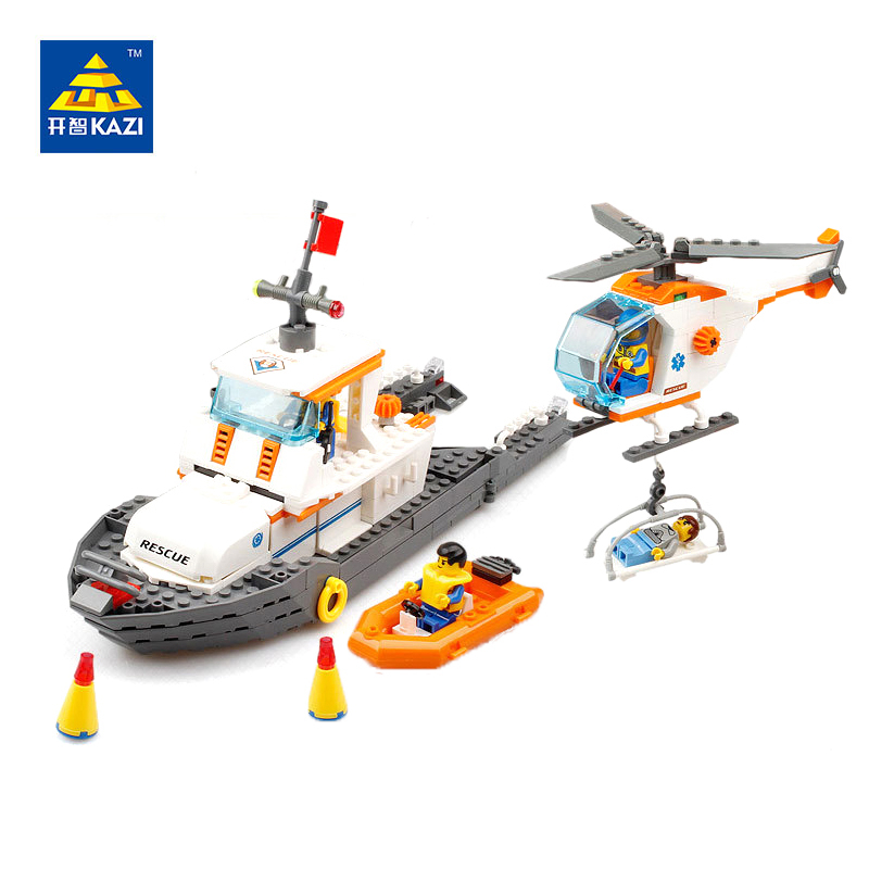 KAZI Kids Educational Learning Building Blocks Maritime Rescue Team DIY City Bricks Compatible with lego maritime safety