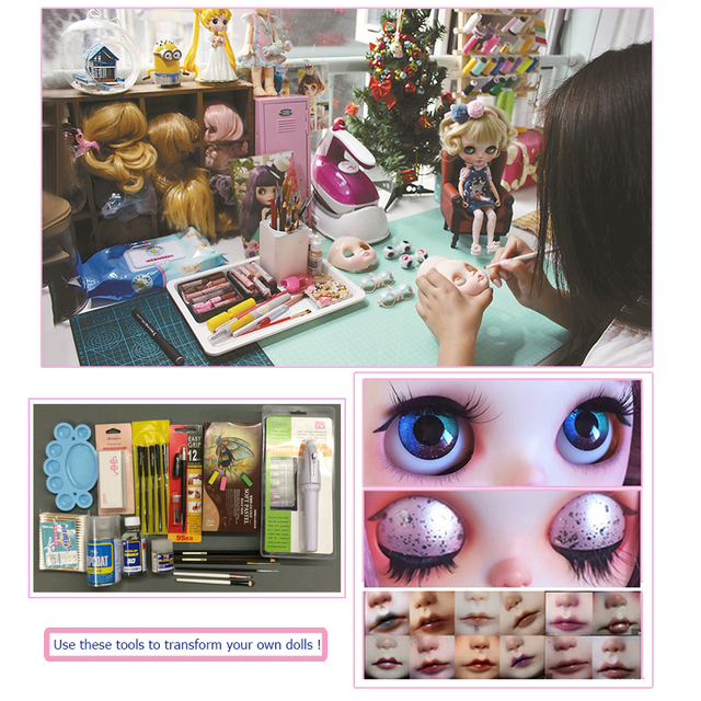 Factory Blyth Doll BJD, Neo Blyth Doll Nude Customized Shiny Face Dolls Can Changed Makeup and Dress DIY, 1/6 Ball Jointed Dolls