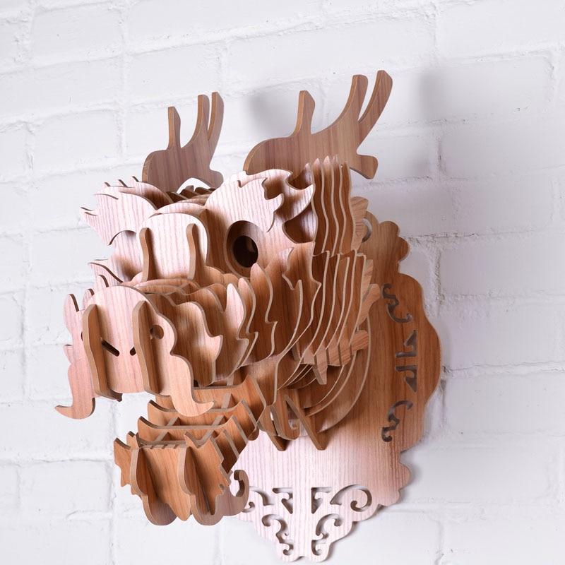 Tête de Dragon en bois décoration intérieure en bois MDF matériel 3D décor mural pour salon chambre cadeau WDM011M - 3