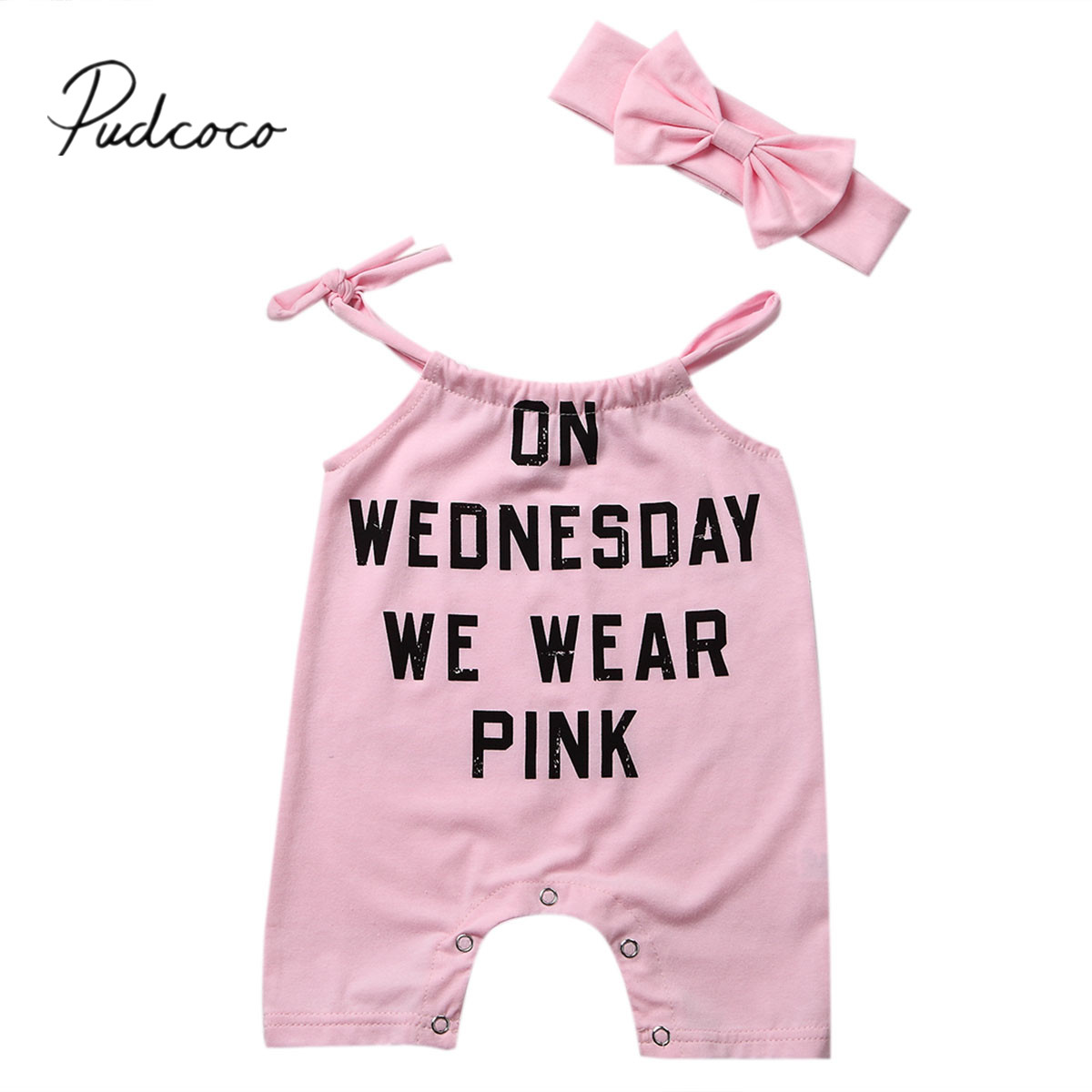 2018 Brand New 2PCS Pink Newborn Baby Girls Romper Summer Sleeveless Letter Cotton Jumpsuit +Headband Outfits Sunsuit Clothes