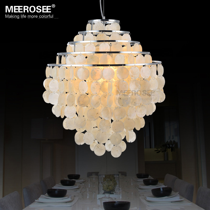 Shell Lamp Shade: Metal Pendant Light for Parlor Bedroom Wedding decors White Shell Shade  Hanging Lamp Fixture Dia 500mm,Lighting