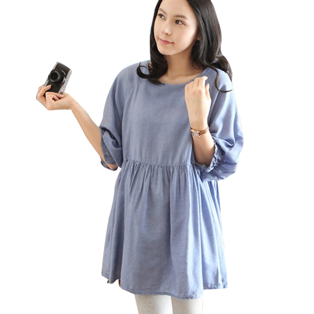 99e60d0a1 Corea del Otoño Maxi Blusas de Maternidad Ropa Premama Embarazo Tops Tees  Ropa Azul Desgaste Ropa