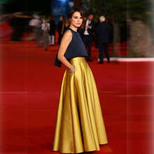 Высокое качество Золотая юбка линии этаж Длина длинная юбка с карманами Атлас Юбки для женщин женские индивидуальный заказ Saia Longa