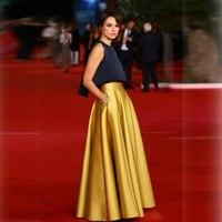 High Quality Gold Skirt A Line Floor Length Long Skirt With Pocket Fashion Satin Skirts Womens Custom Made Saia Longa