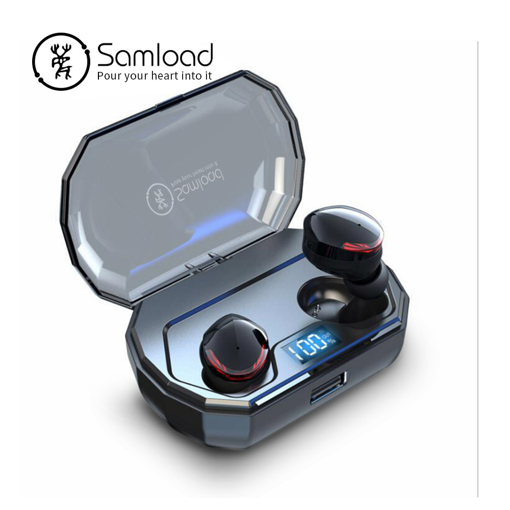 Samload True wireless stereo earbuds Deep bass sound Bluetooth 5 0 Earphone in ear with Mic