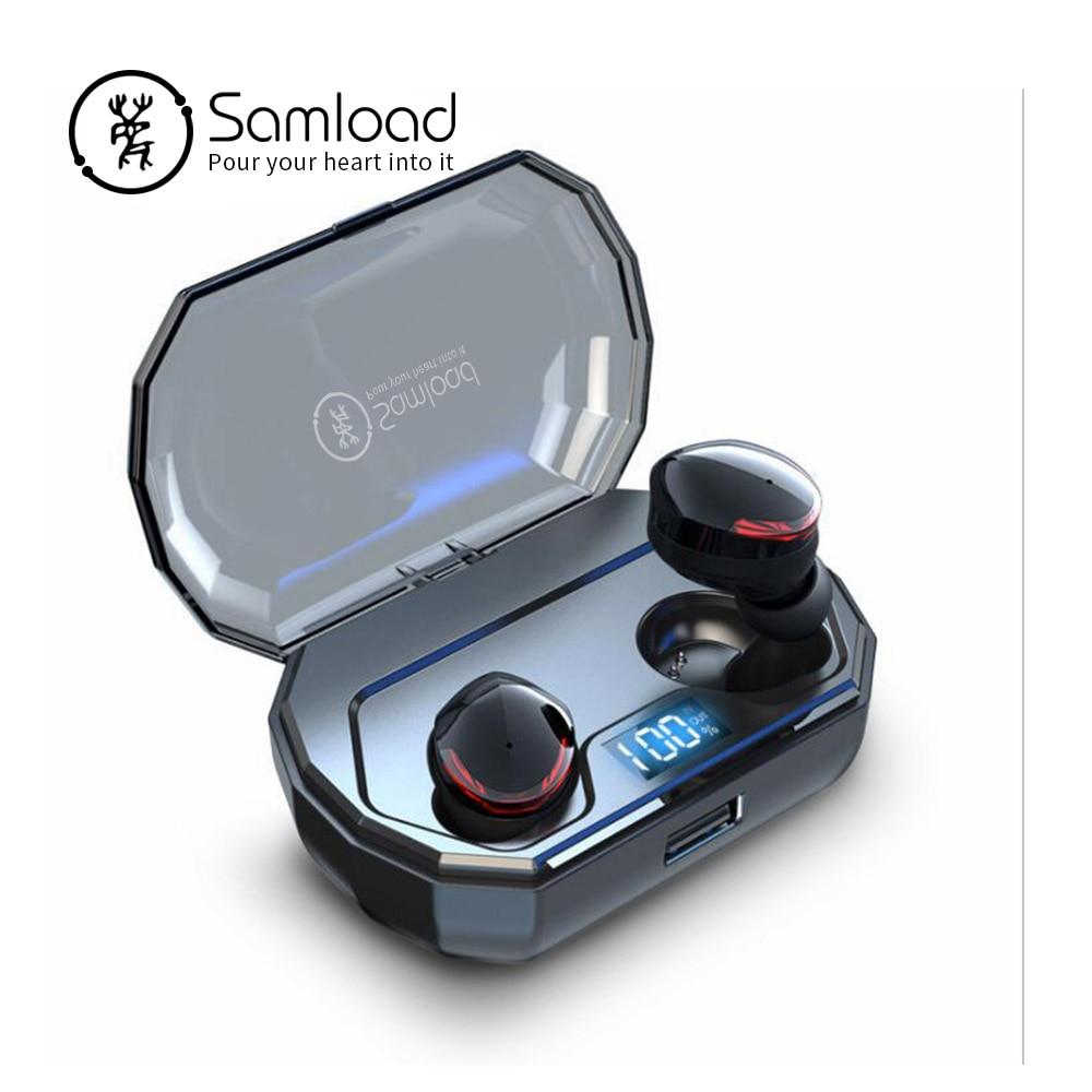 Samload True sans fil stéréo écouteurs profonde basse son Bluetooth 5.0 écouteurs dans l'oreille avec micro 2000 mAh boîte de charge pour iPhone Sony-in Écouteurs et casques from Electronique    1