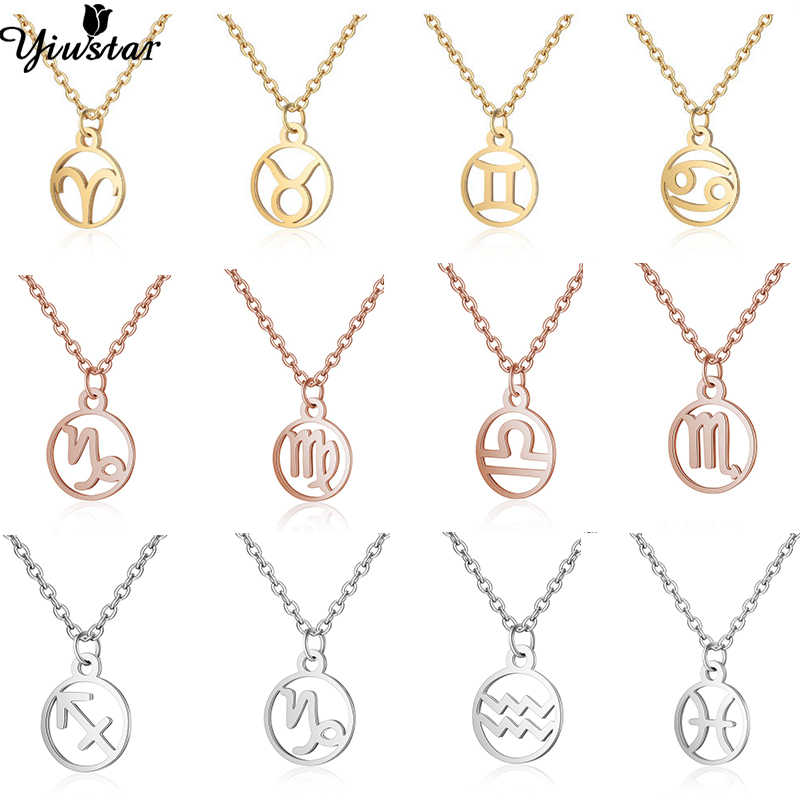Yiustar Stainless Steel 12 Constellation Necklace Women Girls Star Zodiac Sign Necklaces & Pendants Personalized Birthday Gifts