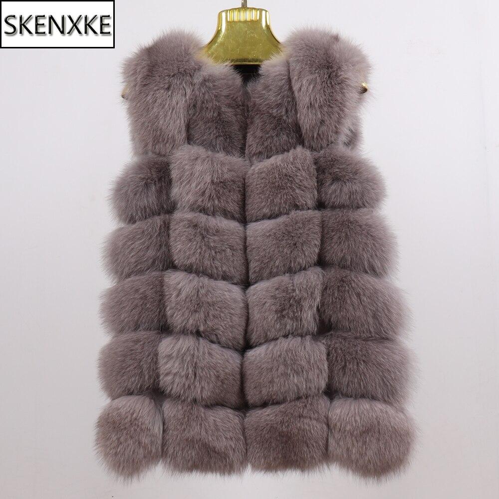 Winter Women Good Quality Real Fox Fur Vest 100% Natural Soft Warm Real Fox Fur Sleeveless Coat Lady Fashion Long Fox Fur Gilet
