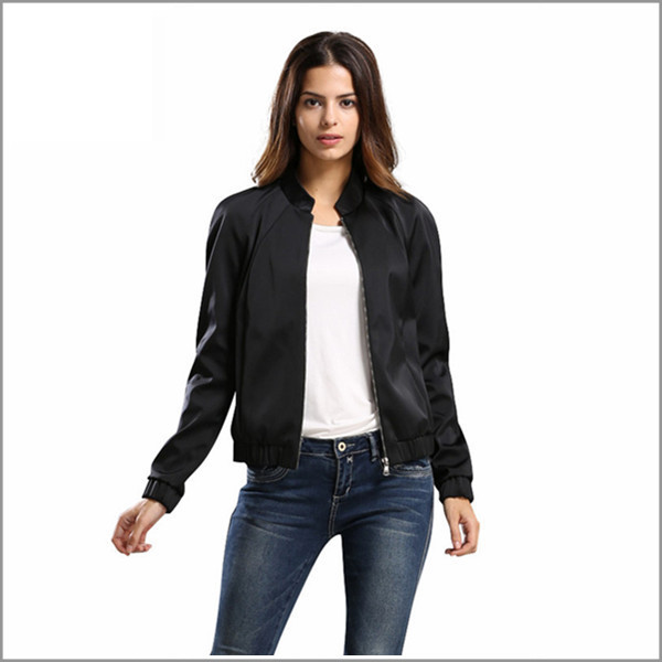 Jacket Women 2015 Plus Size Women Clothing Casual Solid Black Jacket Slim Open Stitch Regular ...