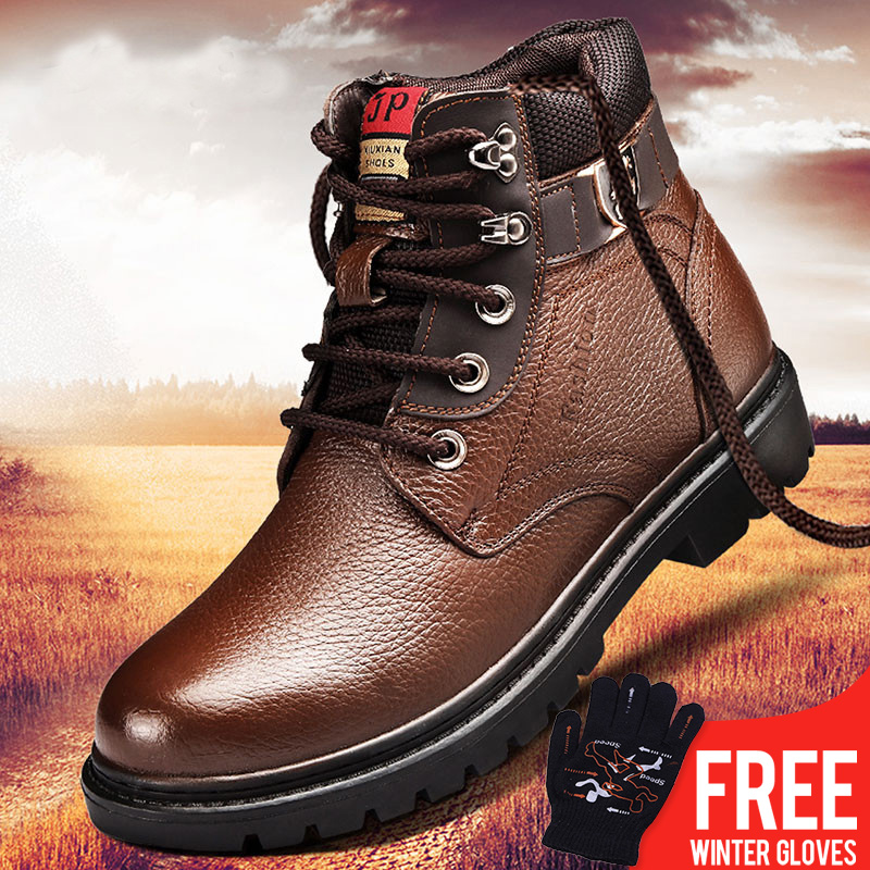 OSCO Men Winter Shoes Warm Comfortable Fashion Genuine Leather Martin Snow Boots Waterproof Boots Men's wool Plush Warm Boots