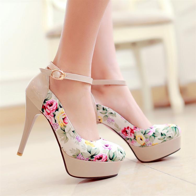 New Elegant Print Women Evening Party Shoes Fashion -7707
