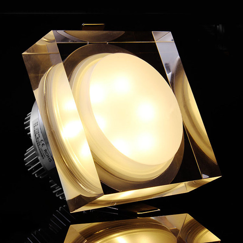 square rgb led crystal downlight 1w 3w 5w 7w led ceiling recessed rgb spot light for home. Black Bedroom Furniture Sets. Home Design Ideas