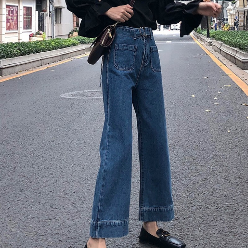 Spring Autumn Wide Leg Woman 39 s Jeans New Casual Korean Denim Jeans Womens Vintage Fashion Pocket High Waist Jeans Woman 2019 in Jeans from Women 39 s Clothing