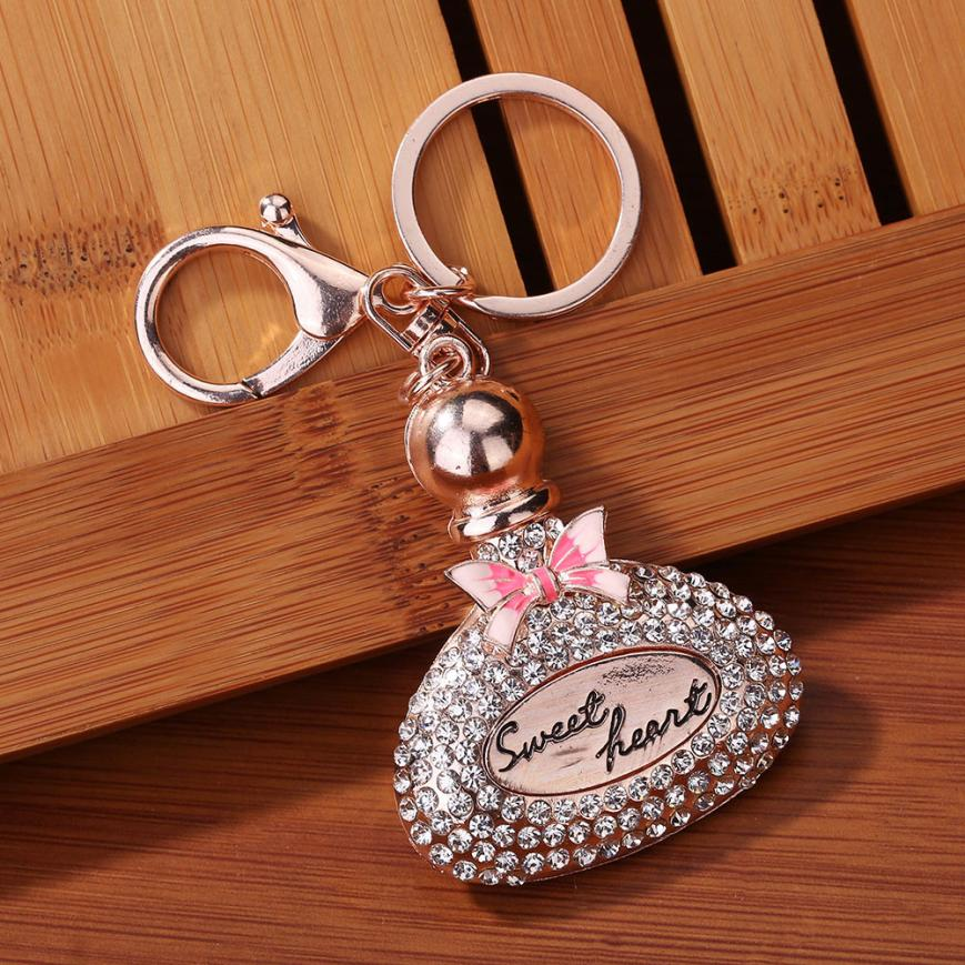 Rhinestone Sweet Heart Perfume Bottles Sparkling Charm Keychain Bag Handbag Dangle Key Ring Car Key Pendant