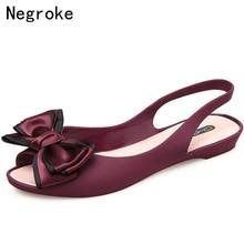 Bowknot Sapatos de Geléia Das Mulheres Sandálias Planas Dedo Aberto  Slingback Moda PVC Macio Verão Senhoras 2c587e964b9e