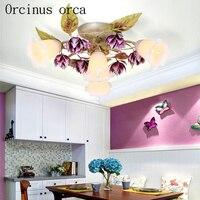 Korean garden flower ceiling lamp bedroom restaurant aisle European style LED purple iron ceiling lamp free shipping|Ceiling Lights|   -