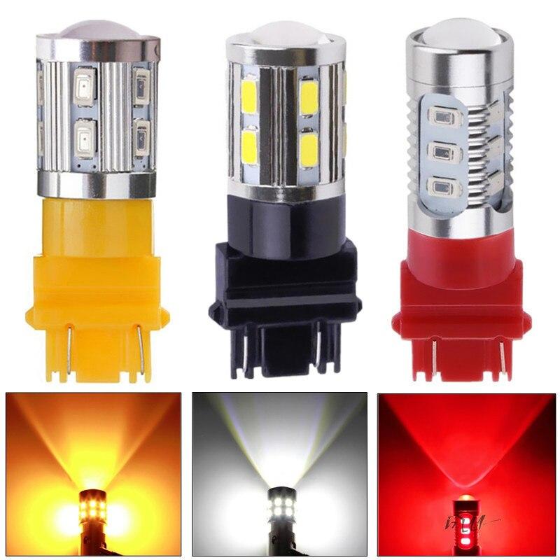 Светодиодные лампы 3056 3156 3057 3157 P27/7 Вт T20 CREE led-чипов-для заднего Тормозные огни для автомобиля отложным воротником сигнала Хвост Лампы для мот...