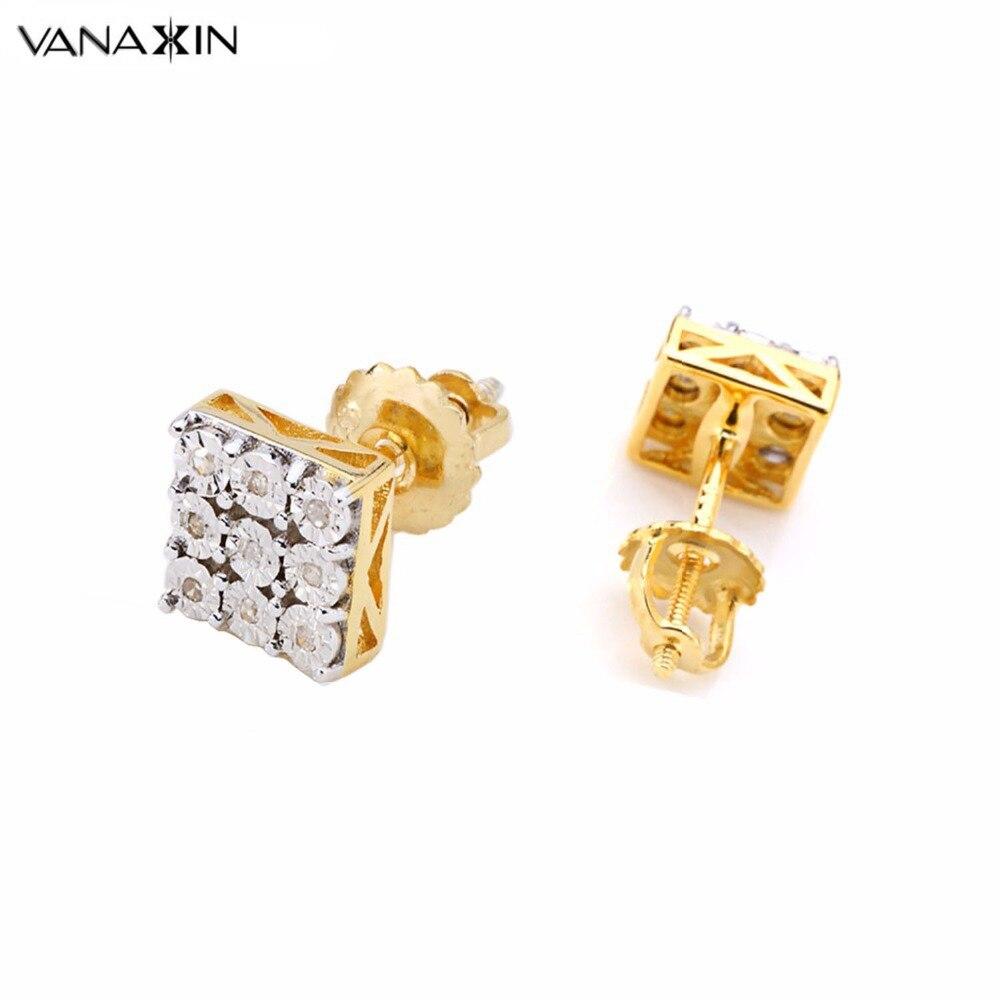 VANAXIN pierre naturelle carré boucle d'oreille hommes bijoux en argent Sterling Fine mignon goujons pour les femmes Date de mariage cadeau vis