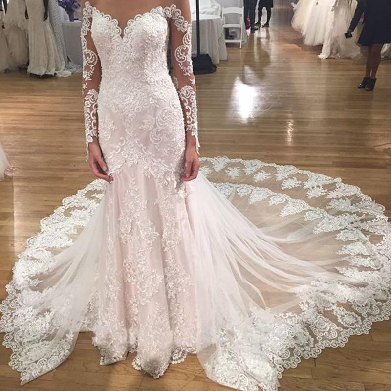 New Arrival Lace Mermaid Vintage Wedding Dresses Chapel