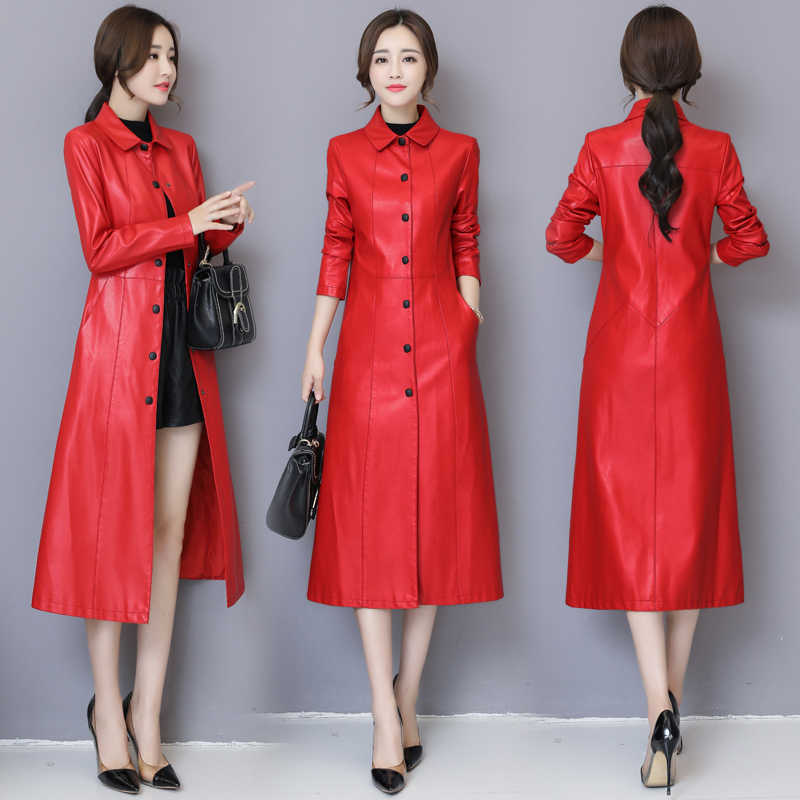 5ccd3da6b56e9 2018 Autumn Winter Long Leather Jacket Women Plus Size Black Slim Soft  Leather Trench Coat Leather Clothing Female Outerwear 5XL