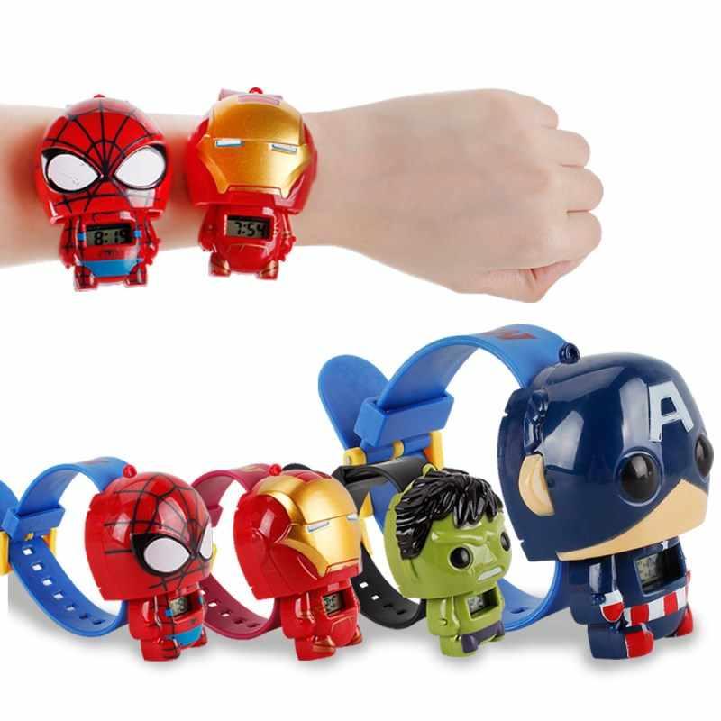 Zwx035 milagre vingadores final jogo eletrônico relógio super herói hulk homem de ferro equipe americana spiderman modelo crianças brinquedos presentes