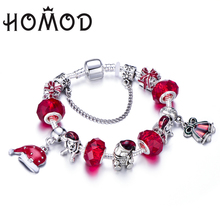 Christmas Gift! 2019 Silver Plated Bell Red Crystal Beads Charm Bracelet Fits Brand For Women Jewelry